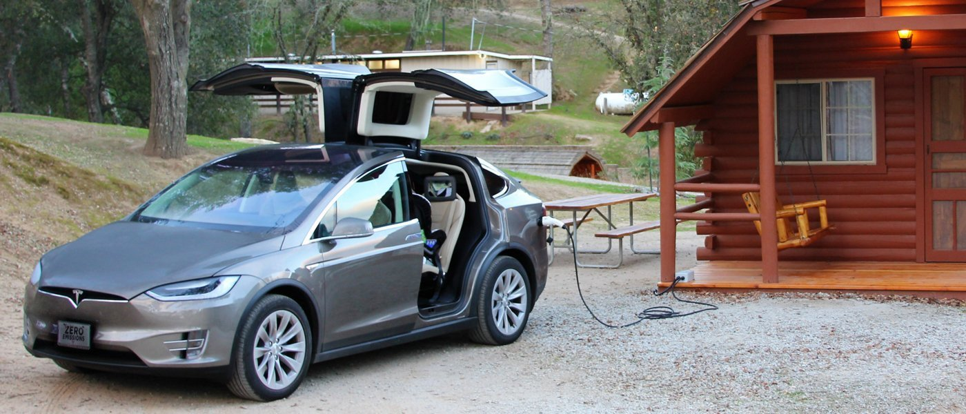 OpenEVSE EV charger at a cabin. OpenEVSE charging stations high power, portable and light weight perfect for use at home and on the road.